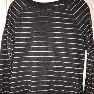 Loft Grey Striped Long Sleeve Shirt